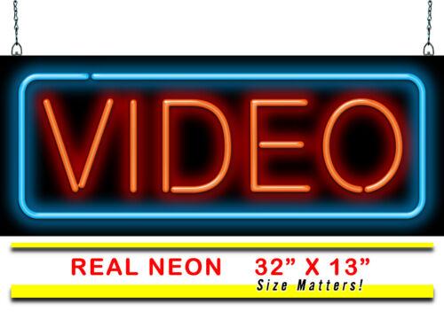 "Video Neon SignJantec32/"" x 13/""Music Store Movies Rent Buy Blockbuster"
