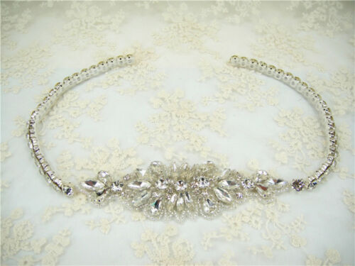 Diamante Motif Beaded Bridal DIY Applique Rhinestone Wedding Dress Applique Trim