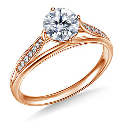 Real 14k Rose Gold Ring 0.80 Ct Round Cut Diamond Wedding Ring Size I J K 1/2 Other Fine Rings Fine Jewelry