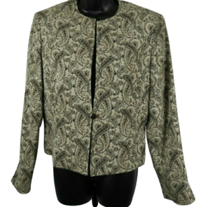 NWT-Jones-New-York-Tan-amp-Multi-Color-Paisley-One-Button-Shoulder-Padded-Jacket-8
