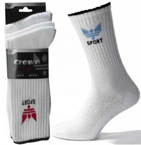 White 6-11,11-14 Big Foot Cotton mix Mens Designer Crown Sports Socks Black