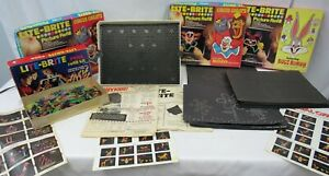Hasbro-1973-Lite-Brite-5455-Manual-640-Pegs-20-Picture-Refills-Original-Box