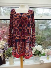 FABULOUS *WALLIS* PRETTY LONG FLORAL PEASANT STYLE TUNIC TOP WITH POCKETS Sz L