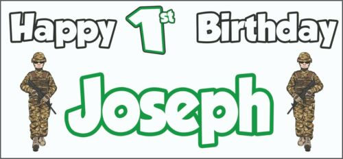 Soldier Army 1st Birthday Banner x2 Party Decorations Personalised ANY NAME