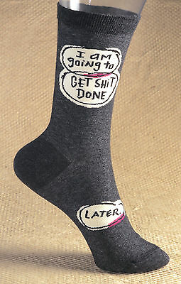 Blue Q Womens Crew Socks   Get Sh*t Done-Later  CLICK FOR SHIPPING PROMOTION