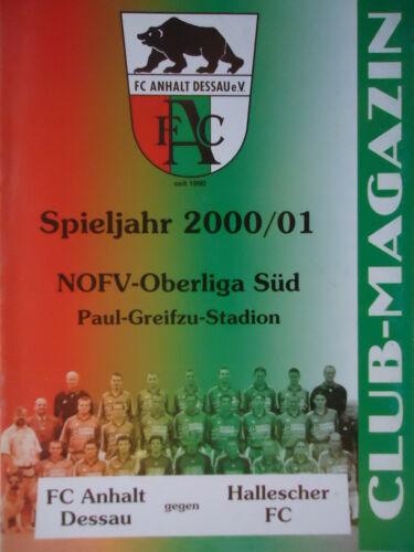 Programm 2000//01 FC Anhalt Dessau Hallescher FC