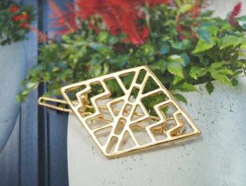 Haarklammer Silber Gold Raute Rhombe Metall Haarspange Haare Viereck Quadrat