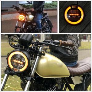 1-X-Forma-Redonda-6-8-034-Moto-Cafe-Racer-LED-Linterna-Retro-Amarillo-Halo-Anillo