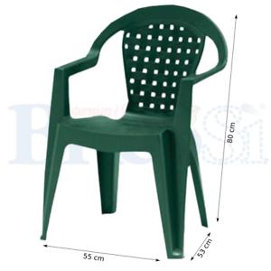 Sedie Plastica Da Giardino.Dettagli Su Sedia Poltrona Da Giardino Esterno Con Braccioli In Plastica Resina Impilabile