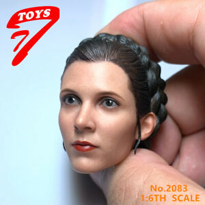 1//6 Female Princess Leia Head Sculpt Carrie Reynolds Fisher Head Carved Model