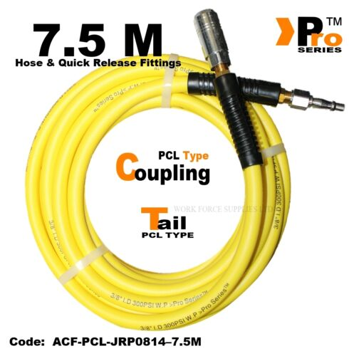 7.5m Hi-Viz Hose with PCL Type Quick Release Coupling & PCL Type Tail - 300PSI