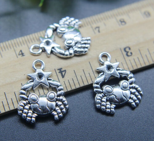 6//20//50pc Cancer Constellation Retro Alloy Charms Pendants Jewelry DIY 23x18mm