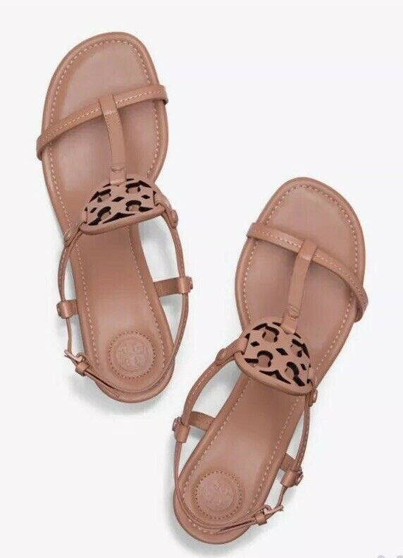 Tory Burch Miller Wedge Sandal Tan Dusty Cypress SZ 10 1 2 10.5 Leather  268