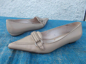 ANNAPELLE-BEIGH-BROWN-GENUINE-ALL-LEATHER-FLAT-POINT-TOED-SHOES-SZ-7
