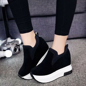 eb42cd87e3 Women's Platform Hidden Wedge High Heels Ankle Sneakers Walking ...