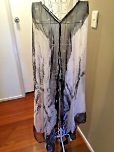 BLACK-WHITE-SILK-TIE-DYE-CRINKLE-EFFECT-TOP-DRESS-CAFTAN-KAFTAN-PLUS-SIZE