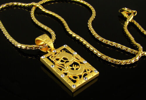 High-Q 18k Gold Plated Mens Dragon Crystal Pendant Chain Necklace Hiphop