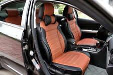 Front + Rear 5 Seat Genenal Car Seat Cover PU Leather for All Season Black&Brown