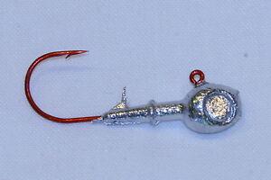 13-pk-1-8-oz-Walleye-Fishing-Jigs-w-Eye-Sockets-Red-Aberdeen-Hooks