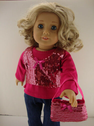 3pc Totally Hot Pink Sequined Jeans Outfit in 18 Inch Doll Olivia/'s Doll Closet