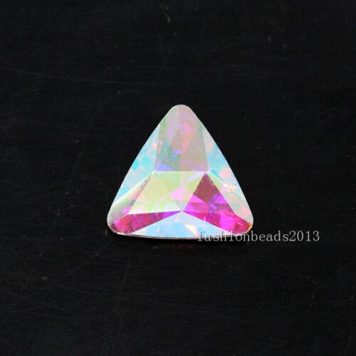20p 18 mm Triangle point Arrière Verre Cristal déjouée Strass Bijoux Making Perle