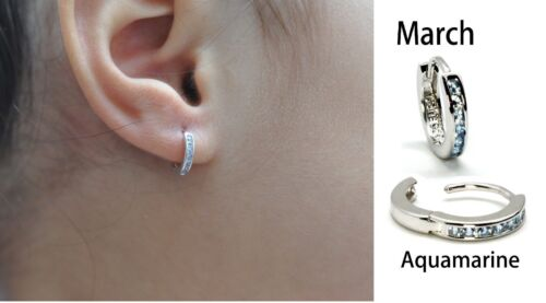 NEW Select Your Own month gemstone.925 Sterling silver 10mm baby earring huggies