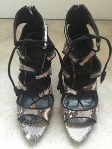 1a16d3f92fd Details about Zara Snakeskin Leather Ankle Boots/ Lace Up Heels Size  40EU-Bloggers Pick