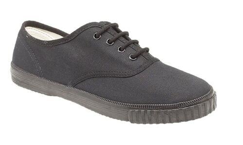 Child Size 6-5 Retro Canvas Lace Up Plimsoll Pumps PE Shoes Black or White