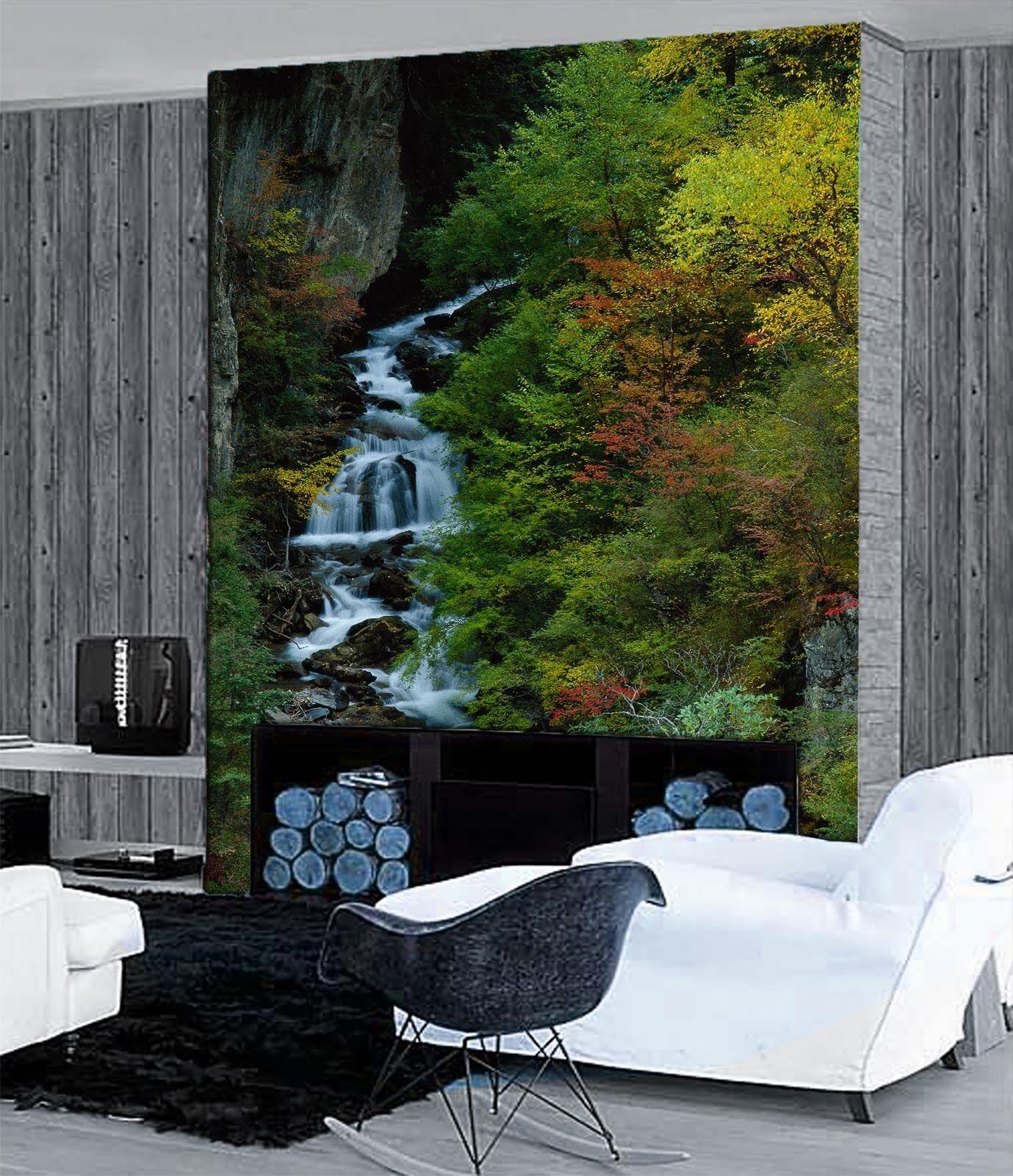 3D Legno Ruscello Parete Murale Foto Carta da parati immagine sfondo muro stampa