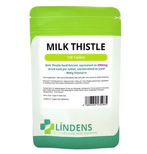 Lindens Milk Thistle Seed Extract 2000mg 120 Tablets yielding 80mg Silymarin 5060332535965