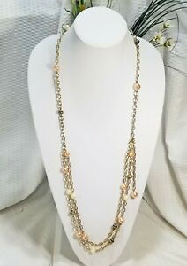 Vintage-Gold-Tone-and-Peach-Pearl-Bead-Multi-Strand-Necklace