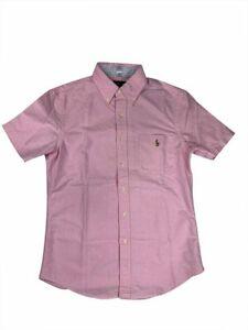 Ralph-Lauren-Polo-Mens-Slim-Fit-Short-Sleeve-Oxford-Pony-Logo-Shirt-Pink-New