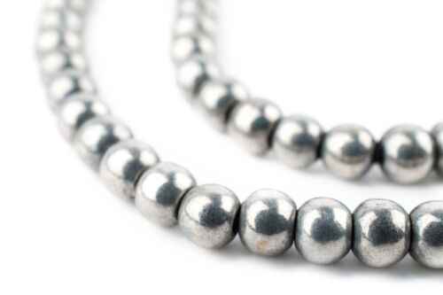Silver Round Sphere Beads 6mm White Metal Large Hole 16 Inch Strand