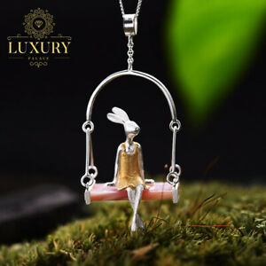 Natural-Shell-Creative-Handmade-Solid-925-Sterling-Silver-Miss-Rabbit-Pendant