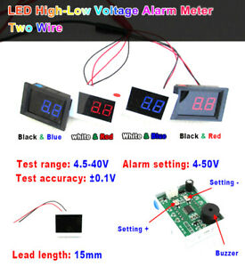 Digital-LED-Voltmeter-DC-4-5V-40V-High-Low-Voltage-Alarm-Tester-5v-12v-24v-Car
