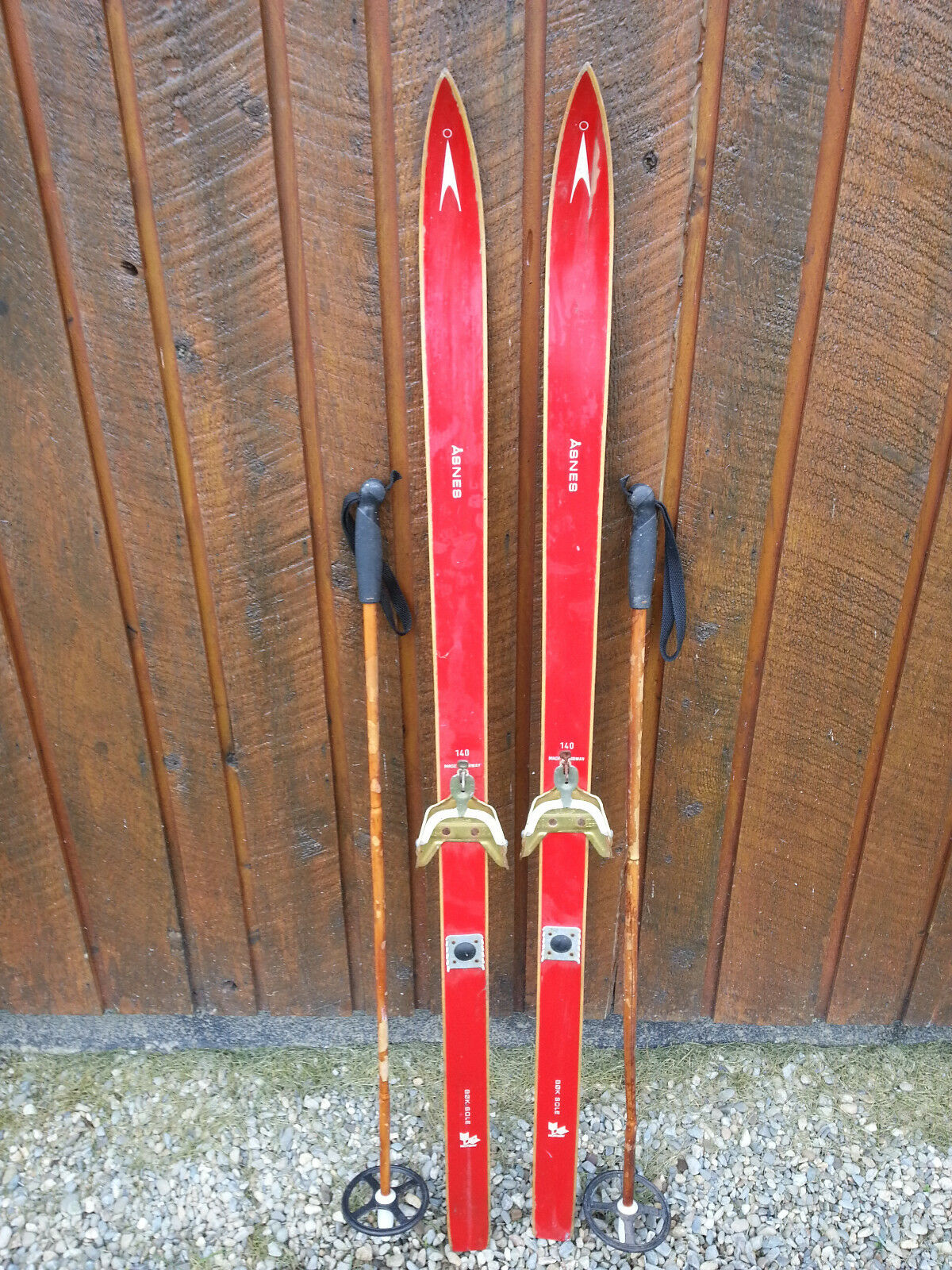 VINTAGE Wooden 55  Skis Has RED Finish Signed ASNES + Bamboo Poles