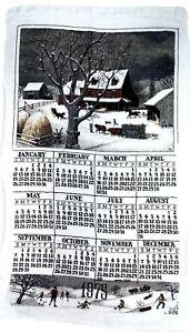 Vintage-Kay-Dee-1975-Folk-Art-A-Winters-Day-Calendar-Dish-Tea-Towel-28-X-17-In