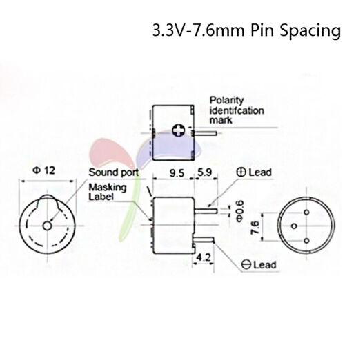 3//3.3//5//12V Mini Active Buzzer PCB 9.5mm High Electromagnetic Long Alarm Round