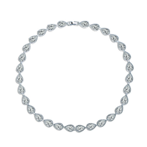 "MODOU Pear Cut White Topaz Tennis Necklace Wedding 18/"" 18K White Gold Filled"