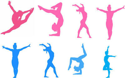 8 Gymnastic Gym Pink & Blue Silhouettes Edible A4 ICING SHEET Cake Toppers  (N2) 7625757186062 | eBay