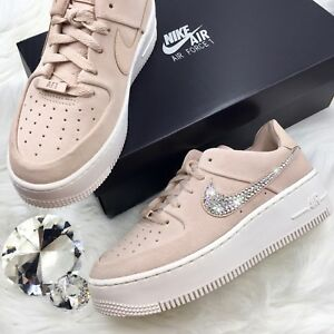 Bling Nike Air Force 1 Sage XX Low Shoes w Swarovski Crystal Swoosh ... f1ec5f250123