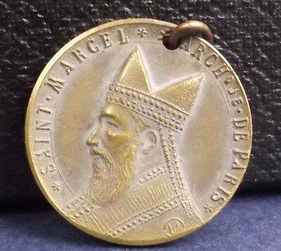 * Raro Medalla San Marcel Arzobispo De Paris Ciudad 1920a J Corbierre Medalla Suministro Suficiente