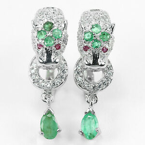 HUGE-NATURAL-AAA-EMERALD-amp-RED-RUBY-925-SILVER-EARRINGS-1-1-4-034