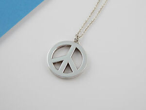 Tiffany co rare silver peace sign pendant necklace ebay image is loading tiffany amp co rare silver peace sign pendant aloadofball Images