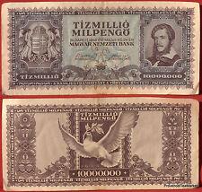 UN BILLET DE  HONGRIE CIRCULE   Pk N° 129 - 10 MILLION de Pengo Budapest 1946