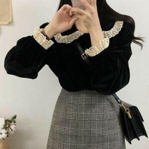 Lady-Girls-Velvet-Casual-Shirt-Blouse-Lolita-Gothic-Lace-Peter-Pan-Collar-Black