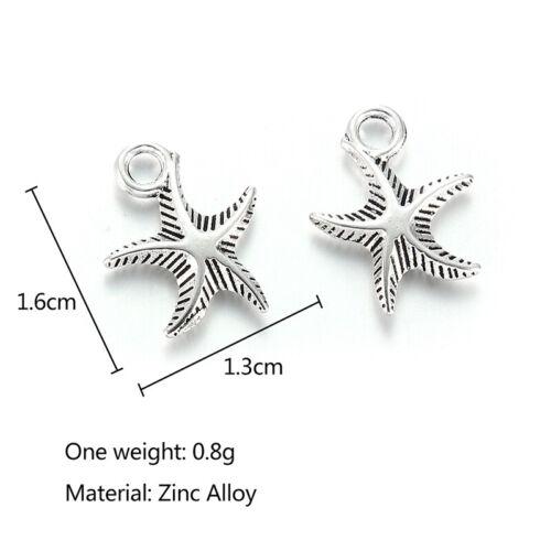 10Pcs Charms Ancient Silver Starfish Pendant Fit DIY Bracelet Necklace Jewelry