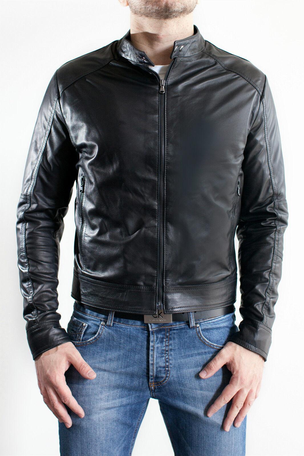 DE Herren Lederjacke Biker Manteau Veste en Cuir pour Homme Homme Veste En cuir E4