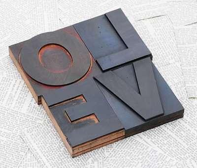"""Aufrichtig """"love"""" Holzbuchstaben Drucklettern Letter Vintage Shabby Chic Letterpress Wood Reine WeißE"""