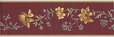 Gold Silk Flower Blue Floral on Brown Vinyk Wall paper Border